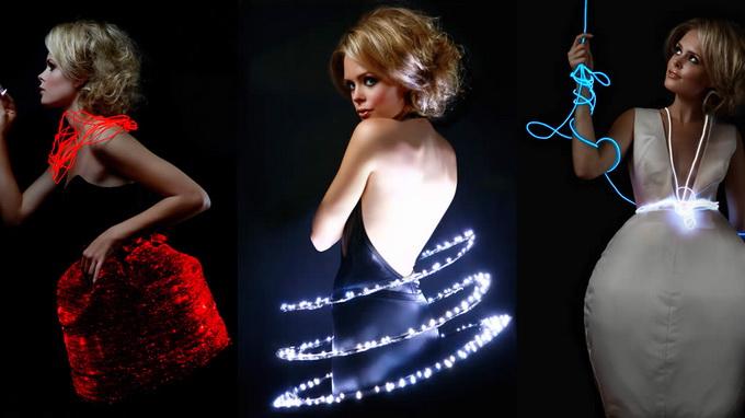 Fiber optic dress changes color on a whim