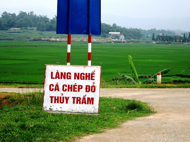 A signboard at the entrance to Thuy Tram Red Carp Craft Village, located in the northern province of Phu Tho.