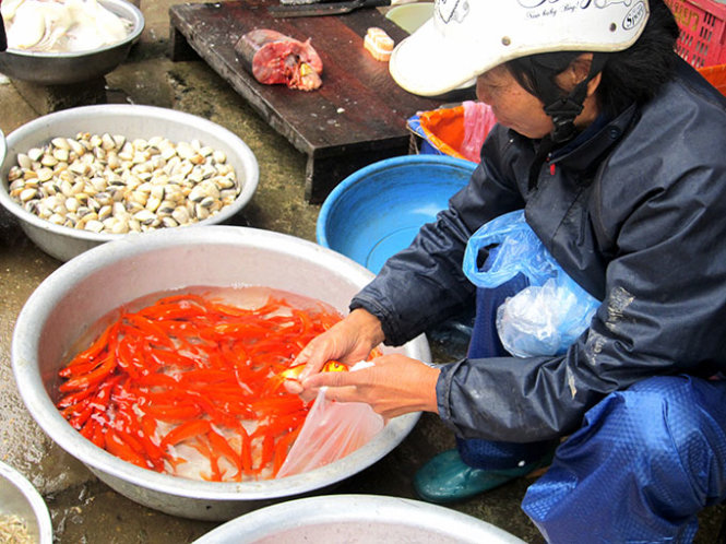 A peddler is seen putting a live red carp into a nylon bag for customers to take a pick.