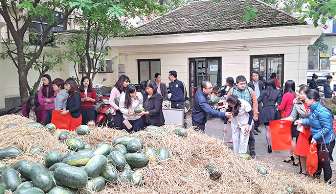 Vietnamese ministry officials turn watermelon sellers to lend farmers a hand