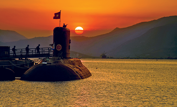 A submarine docks proudly at the Cam Ranh Military Port in Khanh Hoa Province.
