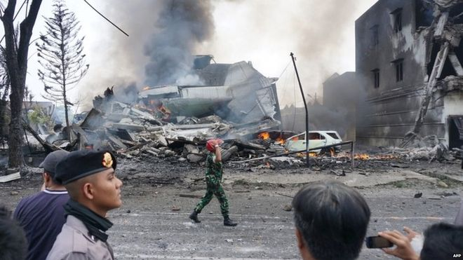 Indonesian military plane crashes in northern city, killing at least 30