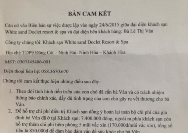 Dog-bitten Vietnamese tourist complains about resort's failure to fulfill commitment