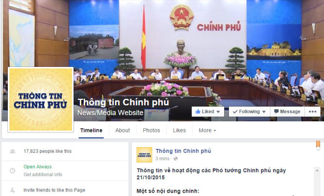 Vietnamese government starts providing information on Facebook