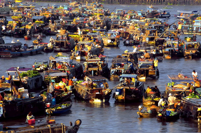 The Cai Rang floating market in the southern Vietnamese city of Can Tho.