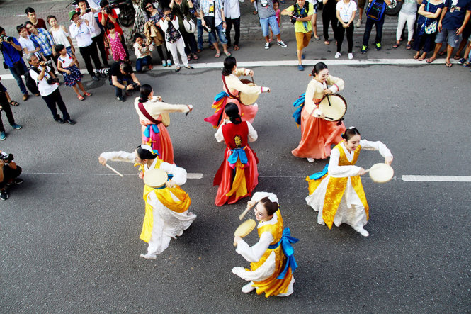 South Korean dancers are pictured in an performance.