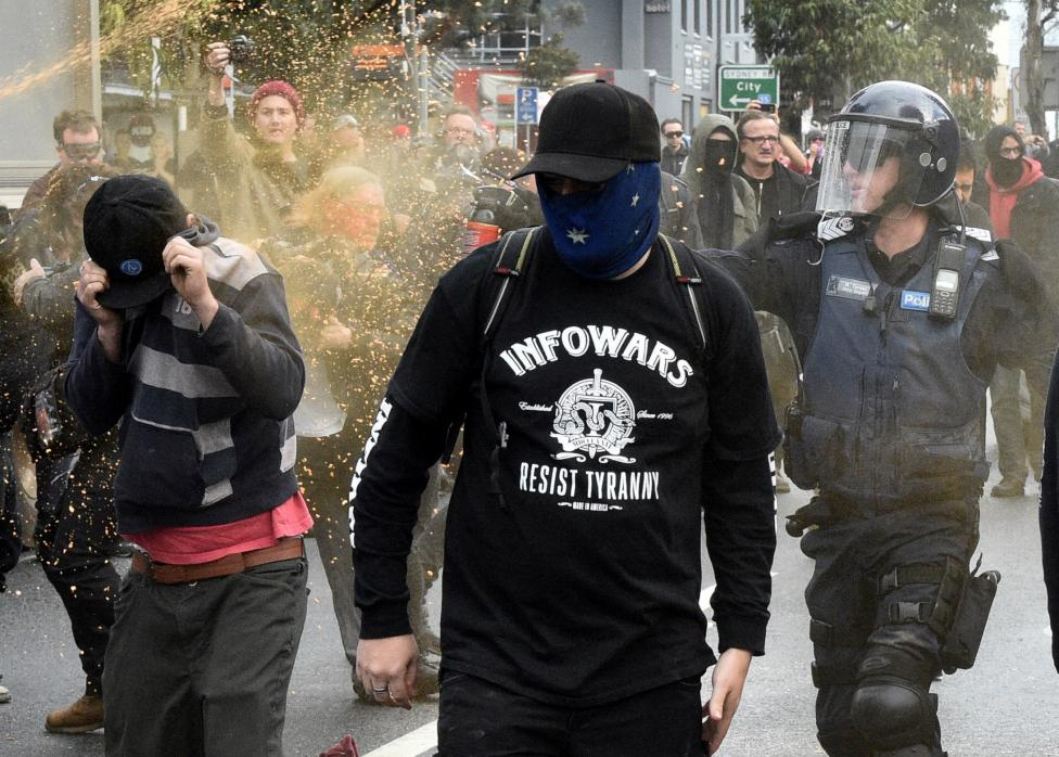 Australia police use pepper spray as nationalists clash with anti-racism protesters