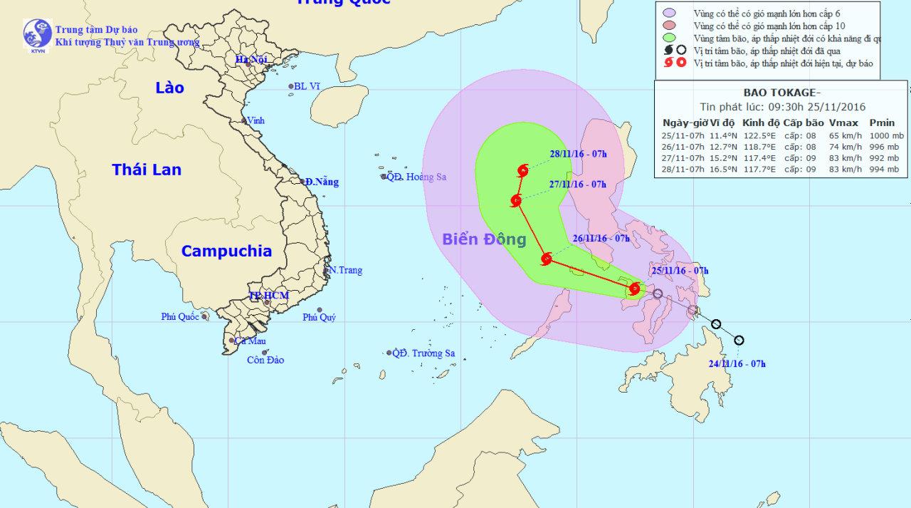 Tropical storm Tokage to impact East Vietnam Sea this weekend