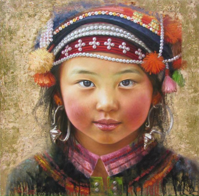 Painter captures pure eyes of minority kids in mountainous Vietnam (photos)