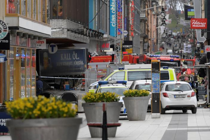 Four killed by truck driven into crowd in Swedish capital