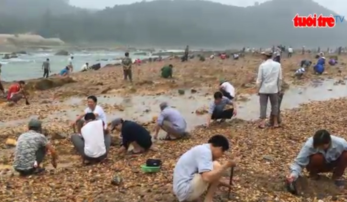People flock to Chay River to hunt for precious stones