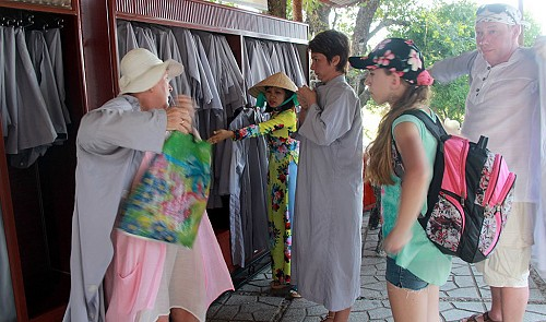 Overcoats made available for inappropriately dressed tourists in Nha Trang