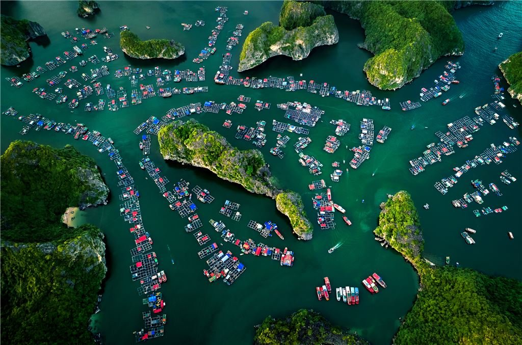 A floating village on Lan Ha Bay in Quang Ninh Province