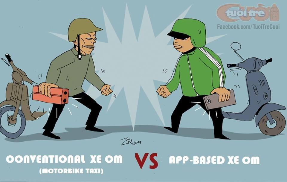 Cartoon: 'Xe om' vs. Grabbike in Vietnam