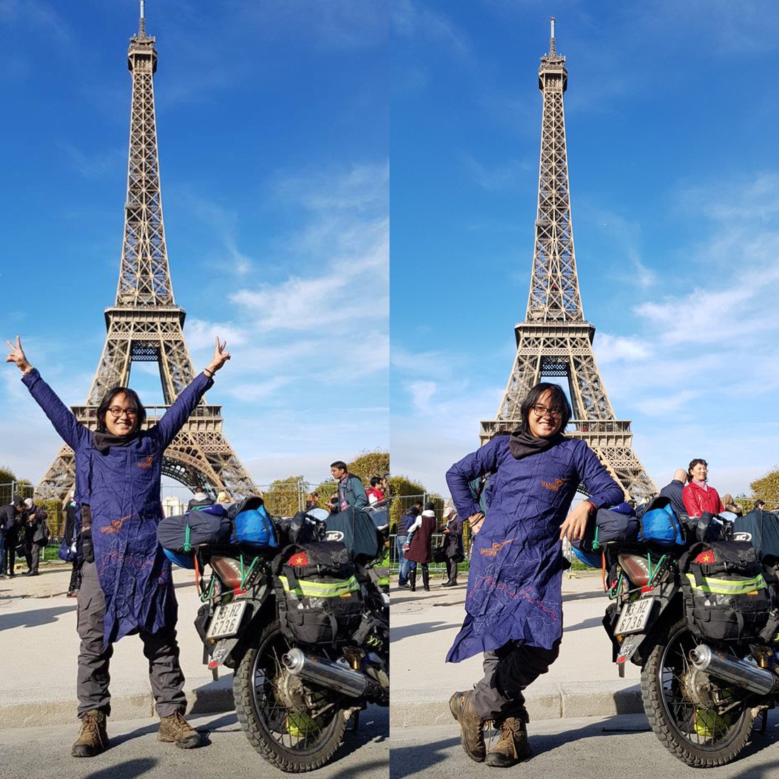 Dang Khoa poses with his beloved bike which he named The Memo at The Eiffel Tower in Paris - Photo by courtesy of Dang Khoa