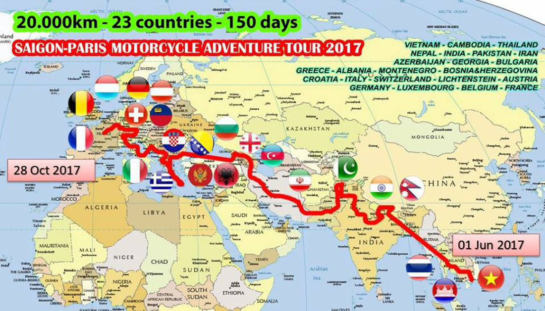 A map showing Khoa's journey from Vietnam to Paris