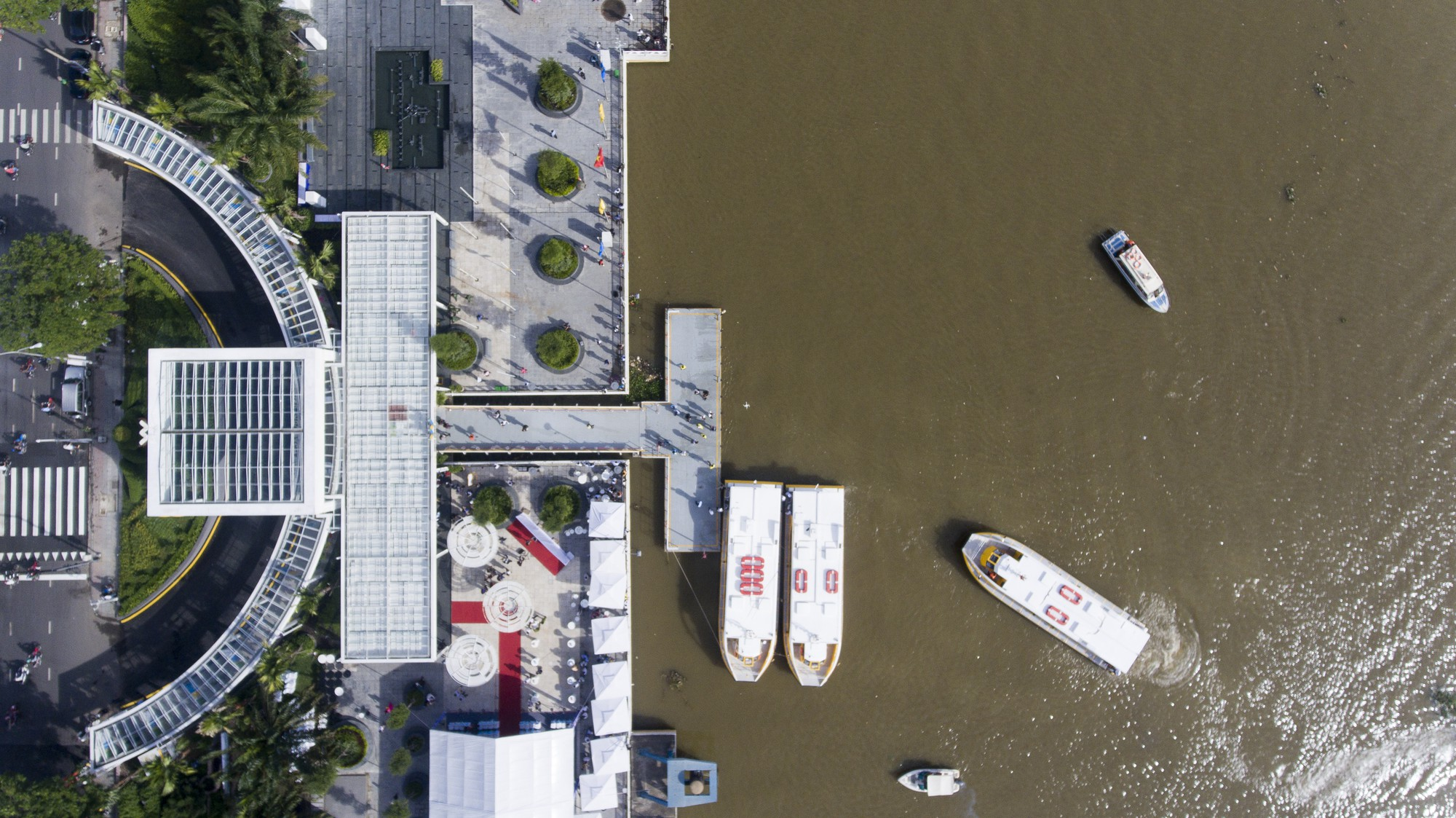The river bus stop at Bach Dang Wharf is seen from above.