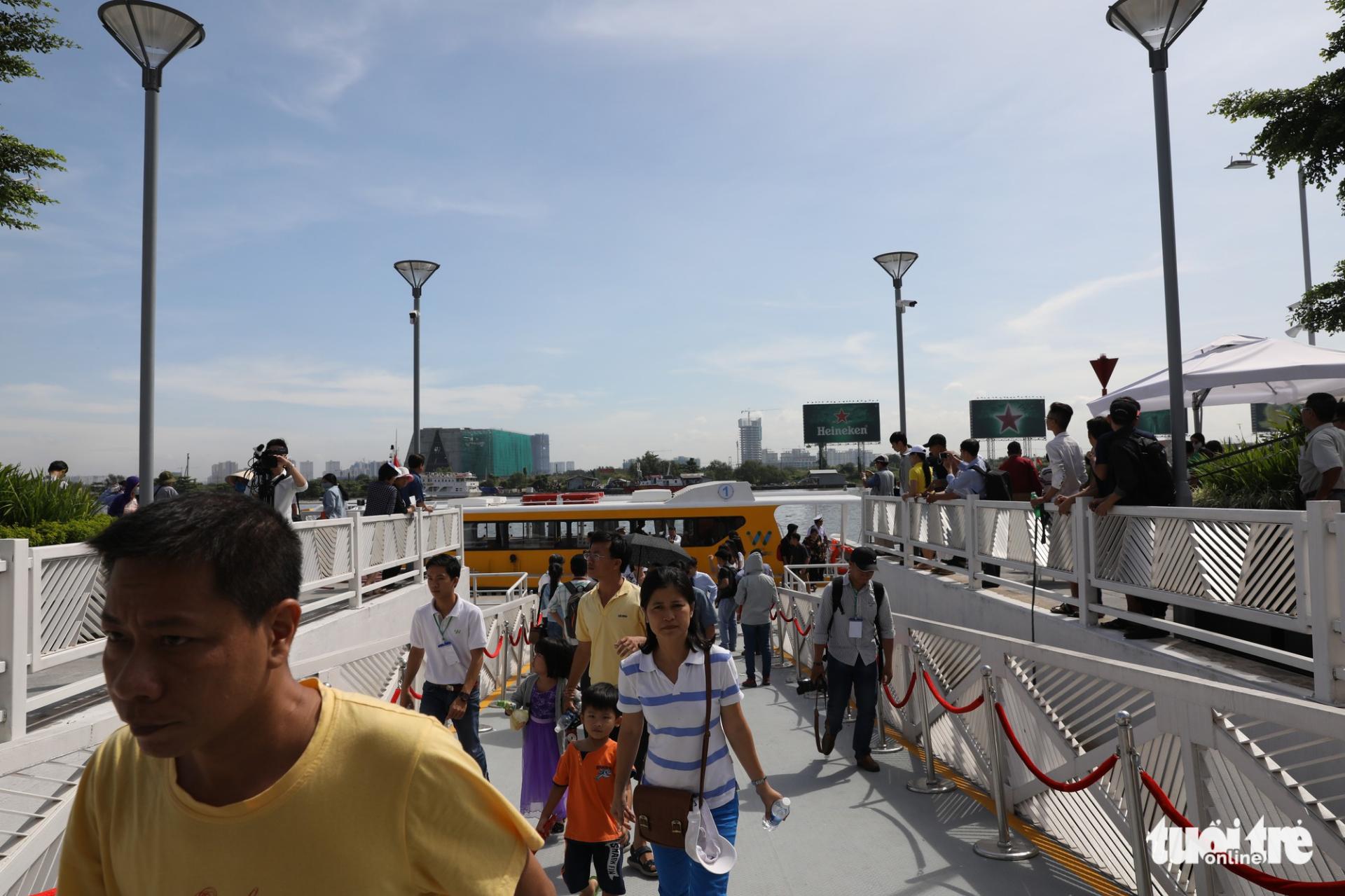 Passengers at Bach Dang Station on November 25, 2017