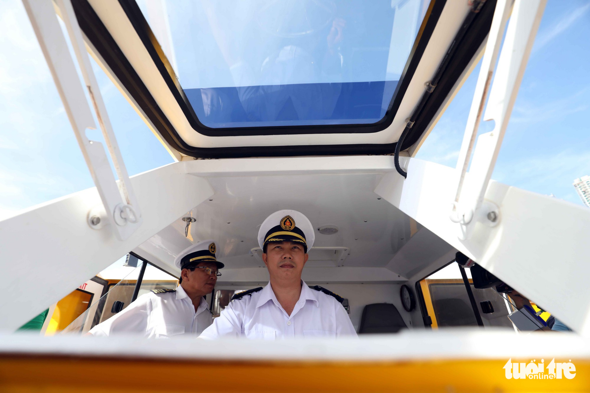 A captain steers the boat along the route No. 1.