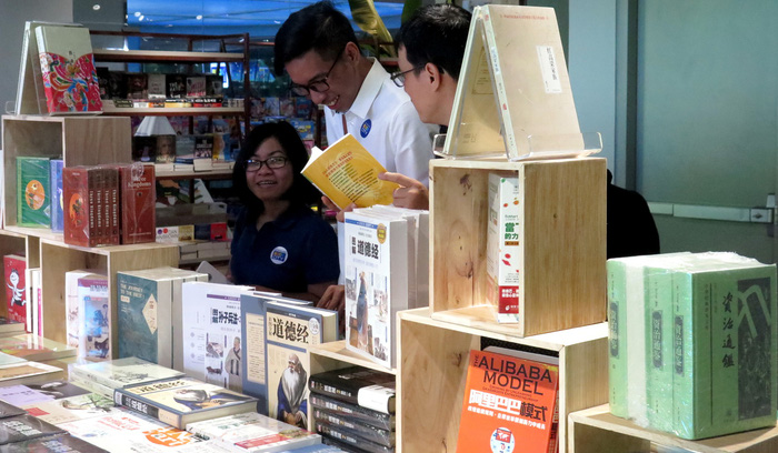 A section for Chinese-language book the Phuong Nam Book City in District 5, Ho Chi Minh City. Photo: Tuoi Tre