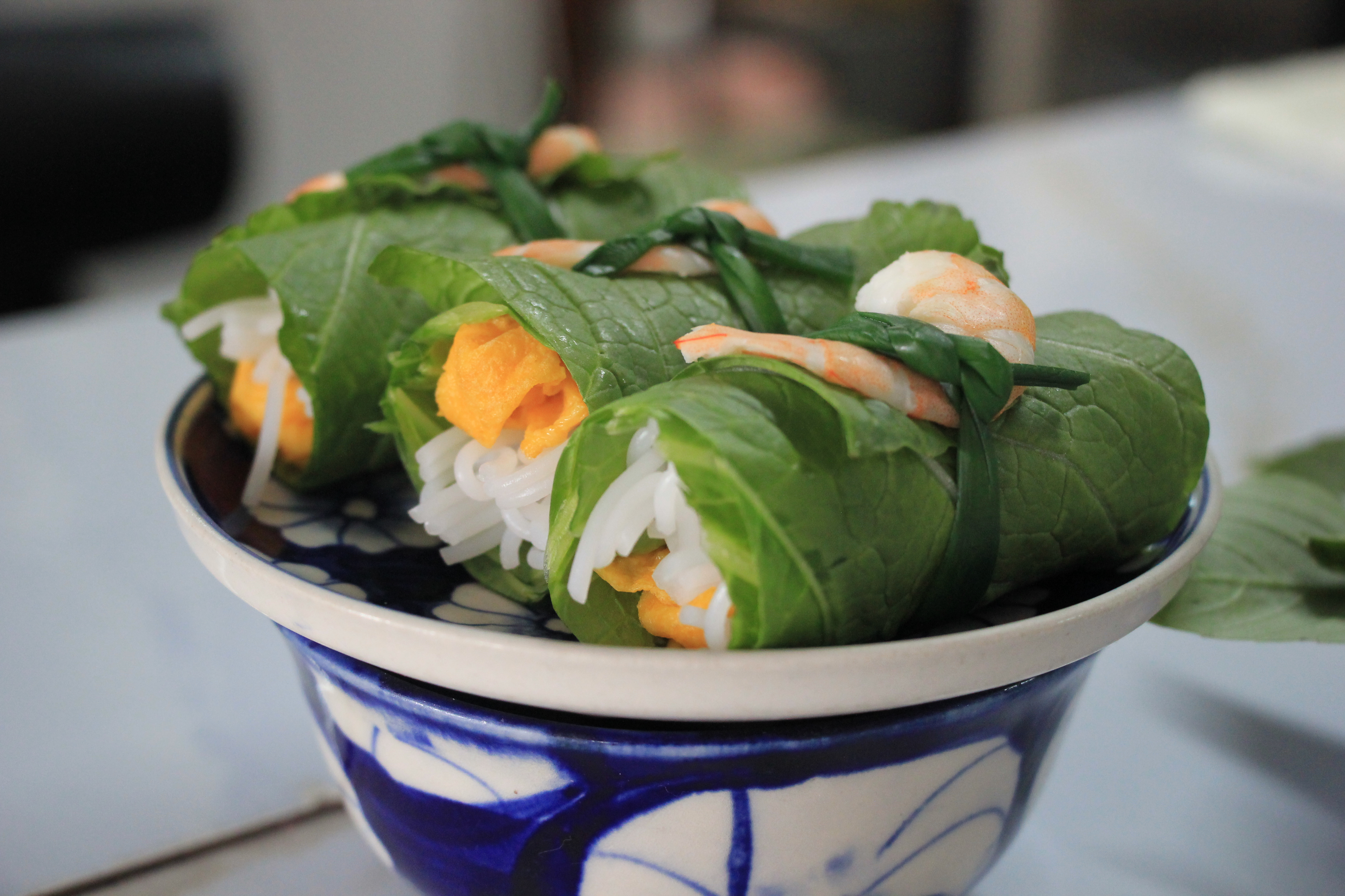 Three rolls of cuốn diếp, a delicacy from northern Vietnam. Photo: Dong Nguyen/Tuoi Tre News