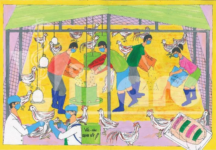 ​Vietnamese students raise awareness of antibiotic resistance in poultry farming through paintings