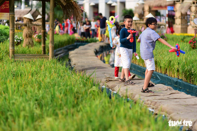 Children enjoy their time along a rice filed model. Photo: Tuoi Tre