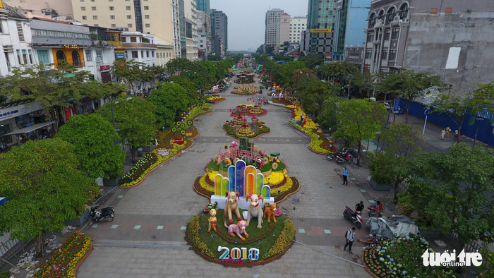 An aerial of the Nguyen Hue Flower Street. Photo: Tuoi Tre