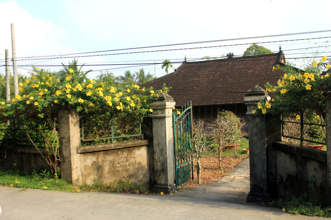 Mr. Tong's house hiding behind a fence covered with golden trumpet flowers. Photo: Tuoi Tre