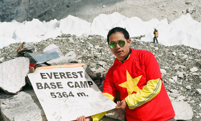 Nguyen Manh Duy is seen at Everest Base Camp in 2015 in a photo he provided