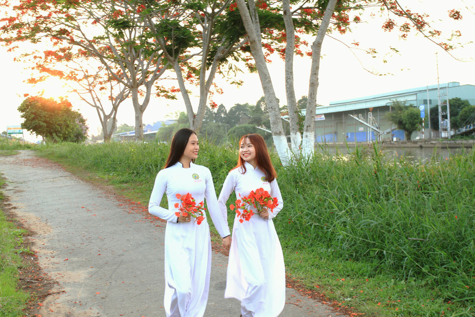 ​Street lined with flame trees attracts 'hello-summer' photo shoots in Vietnam's Mekong Delta
