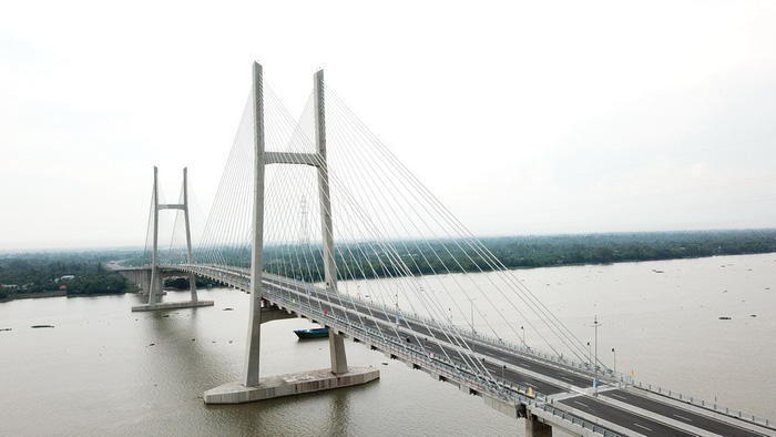 The Cao Lanh Bridge in Dong Thap Province, Vietnam, is seen the aerial perspective. Photo: Tuoi Tre