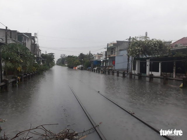 A railway tracks passing Thu Duc District is submerged due to the rain.