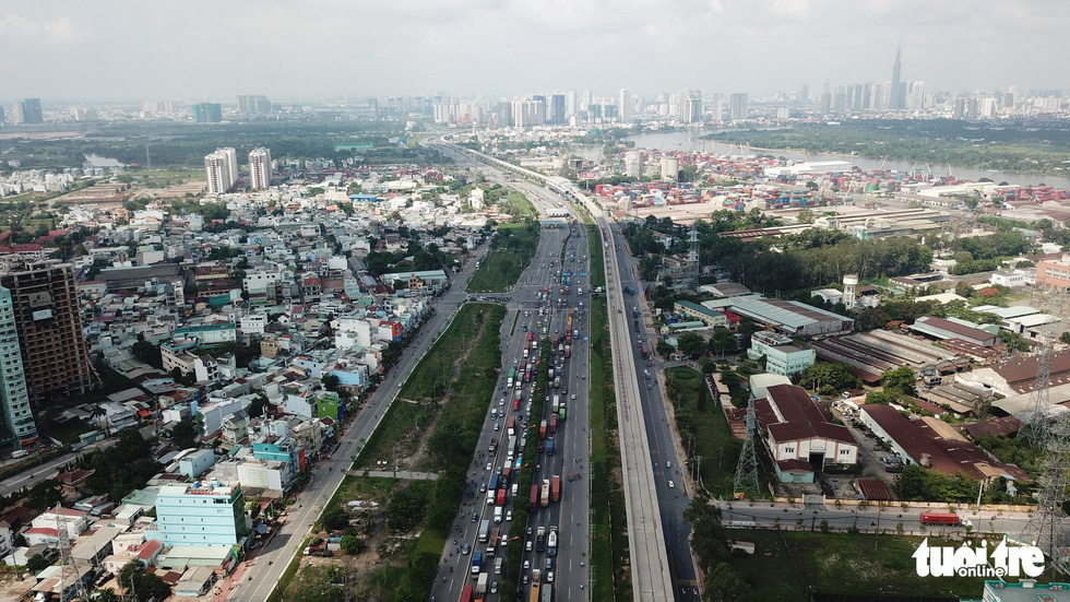 An aerial view of the under-construction first metro line in Ho Chi Minh City. Photo: Tuoi Tre