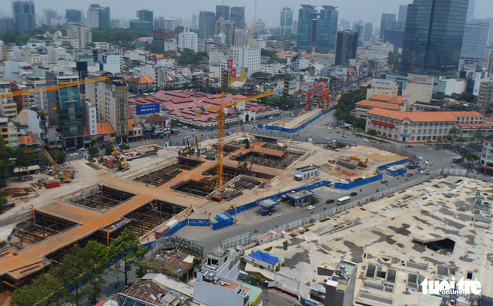 A metro station is under construction in District 1, Ho Chi Minh City in this aerial photo. Photo: Tuoi Tre