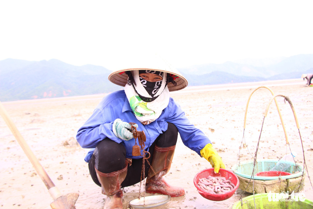 Women earn a living digging for peanut worms in northern Vietnam