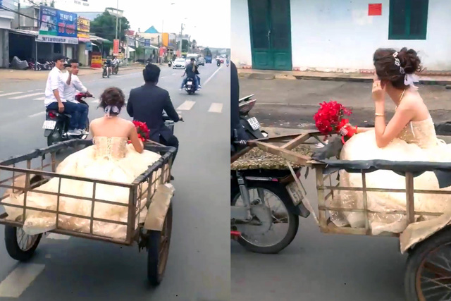 Video of Vietnamese man carrying putative bride on motorcycle trailer provokes criticism