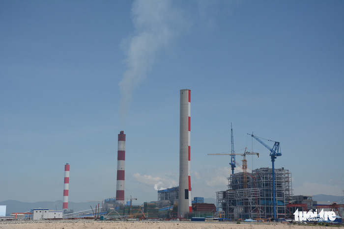 Towering stacks of the Vinh Tan Thermal Power Plant Complex are seen in Binh Thuan Province, Vietnam. Photo: Tuoi Tre