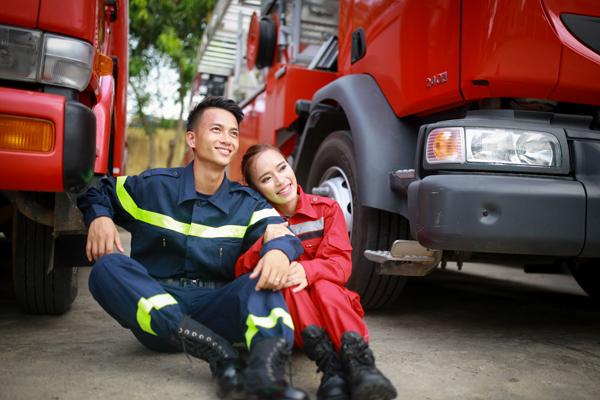 Vietnamese firefighter couple theme pre-wedding photo album under job they both love