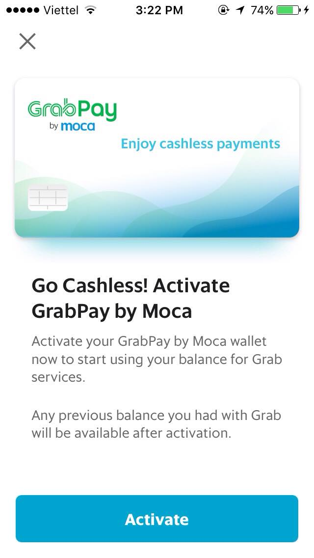 This screenshot from the Grab App urges users to activate GrabPay by Moca