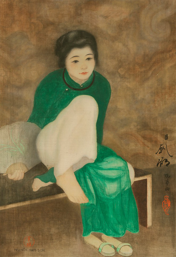 "The ""Tonkin girl with a fan"" painting by the 19th-20th century Vietnamese artist Nguyen Nam Son is seen in this photo."