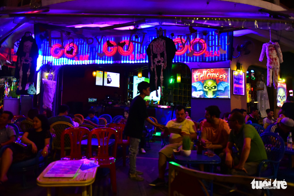 A beer shop on Bui Vien Street is decorated in Halloween theme. Photo: Tuoi Tre