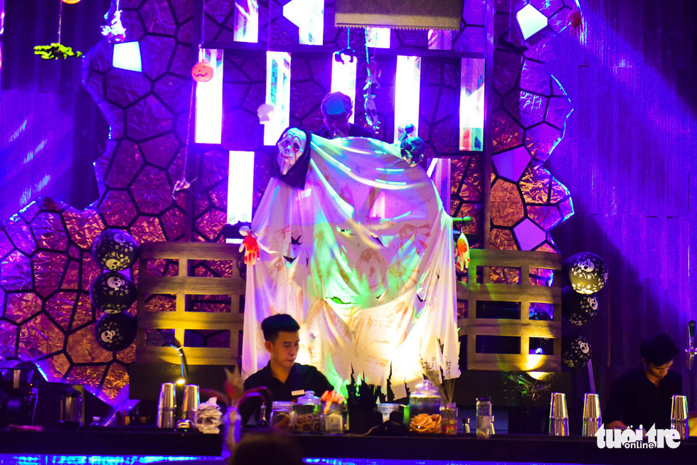 A bar lounge of a restaurant in Bui Vien Street turns into a spooky space for Halloween. Photo: Tuoi Tre