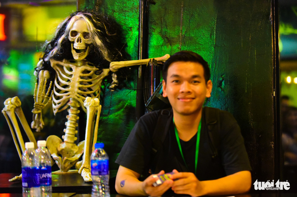 A skeleton is put up on a table at a restaurant in Bui Vien Street. Photo: Tuoi Tre