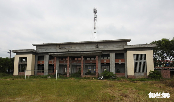 An incomplete mixed-use building stands in rural Hai Phong City, northern Vietnam. Photo: Tuoi Tre