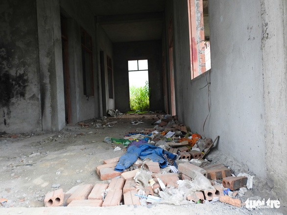 Bricks lie on the floor of the building, in rural Hai Phong City, northern Vietnam. Photo: Tuoi Tre
