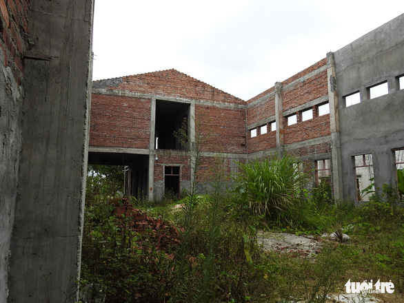 Weeds grow inside the building, seen in rural Hai Phong City, northern Vietnam. Photo: Tuoi Tre