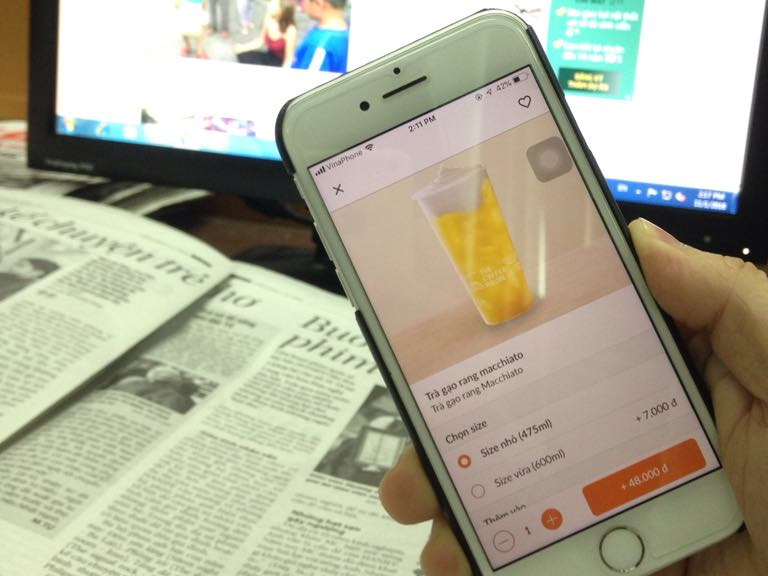 The ordering app of The Coffee House is seen in this photo. Photo: Tuoi Tre News