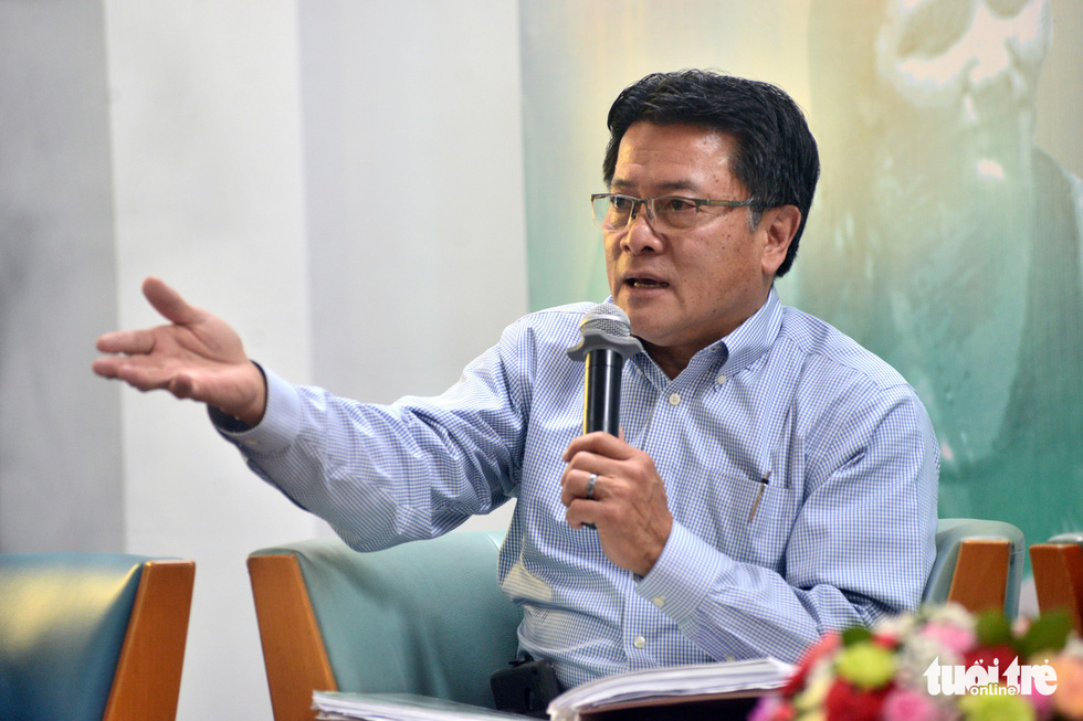 Son Michael Pham, president and director of Kids Without Borders, speaks at an event in Ho Chi Minh City on November 5, 2018. Photo: Tuoi Tre