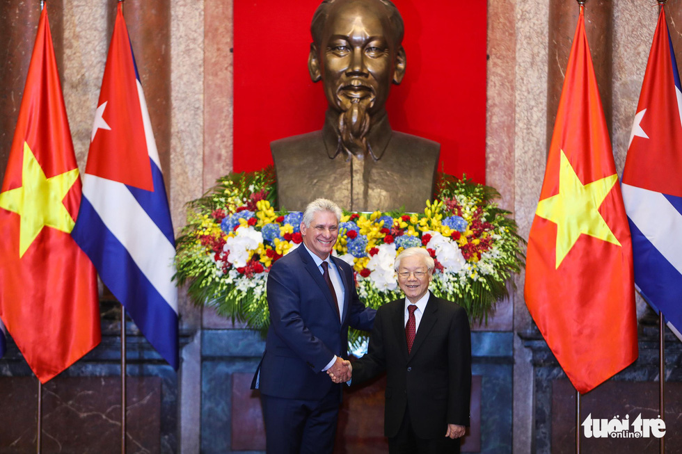 Cuban President Miguel Diaz-Canel welcomed in Hanoi